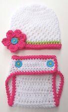 Crochet Flower Hat Diaper Set baby infant toddler child white knit prop Usa