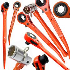 Hi Viz Ratchet Podgers Spanners Steel Erecting Scaffold Tool Wrench 10 - 30mm