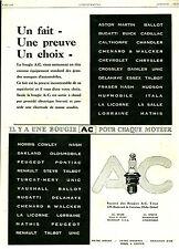 Publicité Ancienne  Voiture Bougie AC pour chaque Moteur  1929