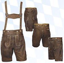 kurze Trachtenlederhose + Träger Plattlerhose Lederhose im Used-Look