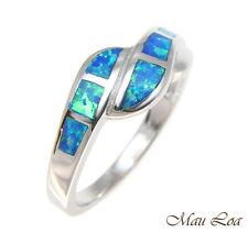 925 Sterling Silver Rhodium Women Men Blue Opal Ring Size 5-10