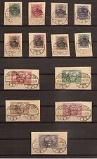 1920 Allenstein Einzelwerte aus Mi. 15 - 28 auf Briefstücken gestempelt