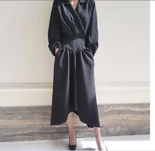 Stylish Women Striped Collar OL Suit Work  Irregular Long Sleeve Dress Casual