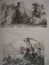 Gravure Porte Romaine à BESANCON et Mort de VINDEX