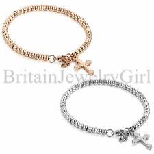 New Womens Bracelet Stainless Steel Beads Ball Chain Jesus Cross Dangle Bangle