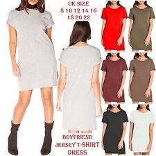 Women Ladies Turn Up Sleeve Top Baggy Oversized Boyfriend Jersey T-Shirt Dress