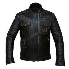 Men Leather Jacket Black Vintage Slim Fit Biker Motorcycle Retro Jacket