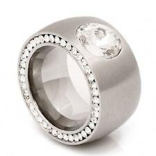 Edelstahl Ring Zirkonia breiter 14 mm massiver Damen Bandring Silber Steine Neu