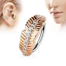 Piercing nez anneau feuille or rose strass