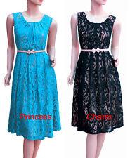 Vintage Style Cocktail Evening Dress Black Blue Lace Size 22 20 18 16 14 12 10