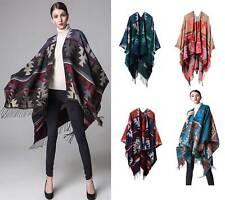 Women Celeb Cashmere Like Poncho Blanket Wrap Shawl Cape Coat Geometry Plus Size
