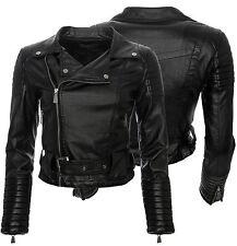 Damen Kunstleder Jacke Sommer Übergangs Kunst Leder Biker Jacket Wow S-XL D-37