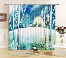 3D House Moon Snow 5 Blockout Photo Curtain Curtains Drapes Fabric Window CA