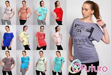"""Nuova da donna T-shirt con logo """" BE WILD """" girocollo modello a tunichetta"""