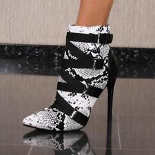 Damen Kunstleder Stiefeletten High Heels Schlangenoptik Weiß #XK-0145