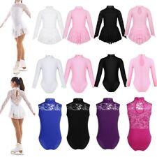 Girls Ice Skating Dress Floral Lace Ballet Leotard Dress Figure Roller Dancewear