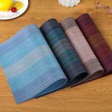 Non-slip Placemats Washable Heat Insulation PVC Weave Kitchen Table Mats