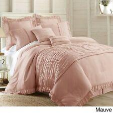 Queen Cal King Bed Mauve Pink Ruffled Pintuck Pleat 8 pc Comforter Set Bedding