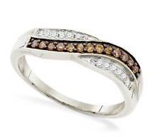 10K White Gold Diamond Ring Chocolate Brown & white diamond Twist Band .25ct