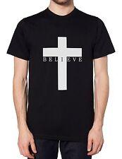 Believe Crucifix Mens Tshirt Religeon Cross Satan Goth Hipster Emo Women T Shirt