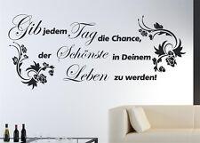 """Wandtattoo Zitat """"Gib jedem Tag die Chance..."""" Twain  Motiv 3 Ranke Floral SZ011"""