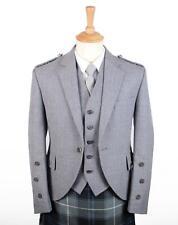 Traditional Light Grey Arrochar Tweed Braemar  Jacket & 5 Button Vest - Regular