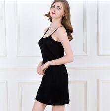 100% Pure Silk Knit Spaghetti Strap Chemise Nightgown Nightdress Sleepwear M-2XL