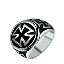Anillo Cruz de malta circulo acero Maltese cross black Biker Rock steel ring
