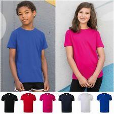 Kids Tshirt Boys Girls Childrens Plain Stretch Cotton Elastane Age 3/4 - 11/12