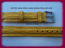 BRACELET MONTRE CUIR  nautic résiste à l'eau 14mm  REF.3552 boucle argentée