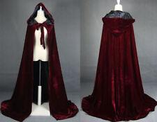 2019 Wine Black Velvet Hooded Cloak Long Wedding Cape Halloween Plus Size S-XXL