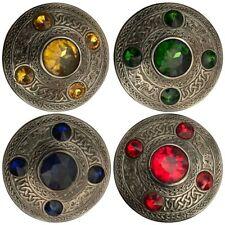 "CC Scottish Antique Finish Celtic Kilt Fly Plaid Brooch 5 Stone 4"" Kilt Brooches"