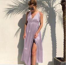 Light Purple Satin Skirt Boho Maxi Dress Evening Party Beach Dresses Sundress