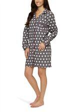 Flanell-Nachthemd für Damen mit Knopfleiste und Polka Dot-Design - Moonline