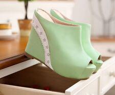 Scarpe ciabatte sabot sandali zeppa plateau 13.5 cm verde comodi eleganti 9298