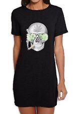 Skull Smoking Cannabis Women's T-Shirt Dress   - Weed Hydroponics Spliff