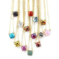 14 Colors Fashion Mini Square Glitter Women Rainbow Opal Choker Necklace Jewelry