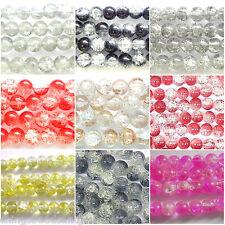 Crackle glass beads 100pcx8mm 80pcx10mm 70pcx12mm tutti colori