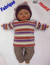 Ensemble NEUF pour Bébé Corolle 30-36-42 cms Ref.violet beige