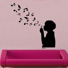 Che soffia Note Adesivo Da Parete In Vinile Arte Musicale Strumento decorazione