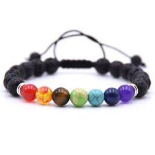 7 Chakra Amethyst Agate Black Lava Stone Beads Adjustable Bracelet For Women