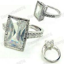 BIG 14x9 CUBIC ZIRCONIA emerald cut BLING RING crystal RHINESTONE white gold plt