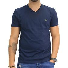 Lacoste T-Shirt V-Neck Kurzarm Baumwolle Herren Dunkelblau Marine TH2036 166