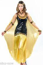 Golden Cleopatra Deluxe Sequin Women's Fancy Dress Costume with Headpiece