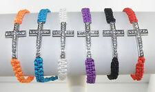 Macrame Sideways Cross / Crucifix / Rood Bracelet Assorted Colors Surfer Closing