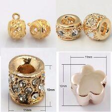 Perlen Großlochperlen für Armband oder Ketten rosegold mit Strasssteinen Charms