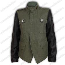 Ladies Jacket Womens Biker Coat Diamante Leather Look Army Military Funnel Neck