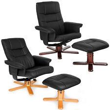 Fauteuil relax TV avec pouf tabouret avec pied en bois chaise