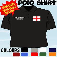 Personnalisé Angleterre St Georges Drapeau Emblème T Polo Shirt Brodé Design