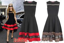 Womens Celeb Paris Hilton Black Skater Dress Mesh Leopard Red Trim Party Dress